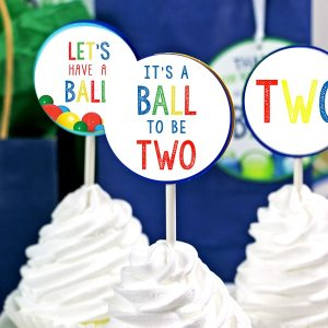 Ball Party 2nd Birthday Cupcake Topper