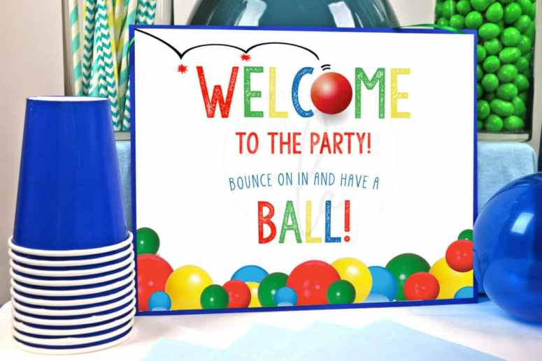 Let's Have A Ball Party Decorations: Welcome Sign