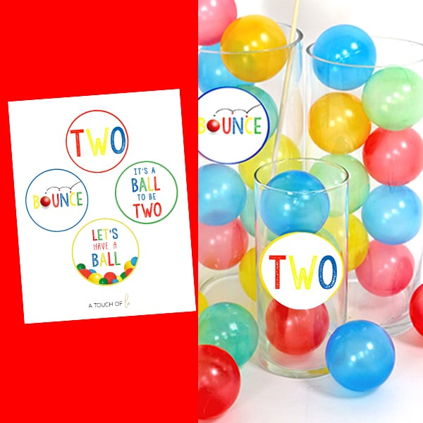 It's A Ball to Be Two Printable Small Party Circles