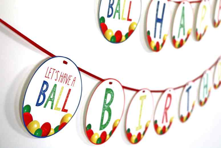 Ball Party Theme Happy Birthday Banner  #ballparty #letshaveaballparty #firstbirthdayballparty #ballpartytheme #ballpartybanner #itsaballtobetwo #itsaballtobethree #itsaballtobefour