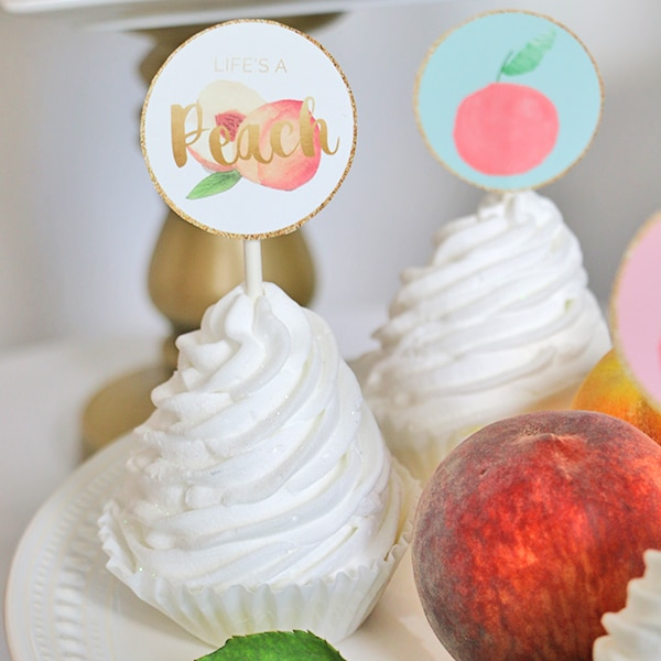 Peach Party Printable Cupcake Toppers