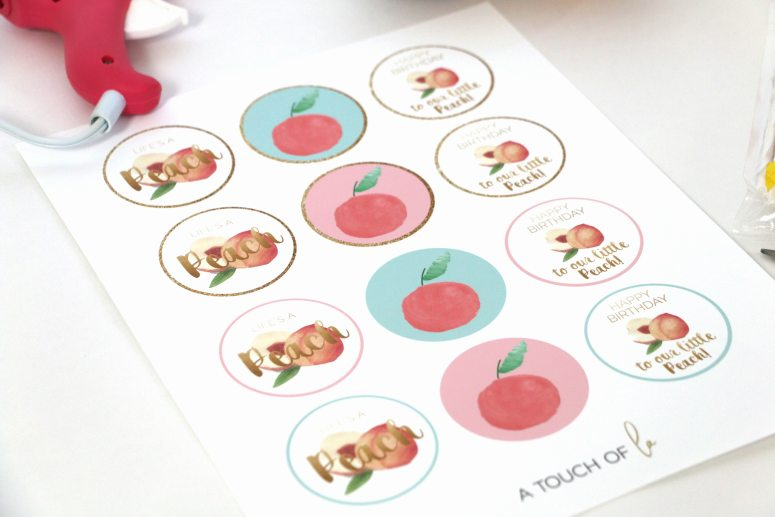 Sweet as a Peach Birthday Decorations Printable Cupcake Toppers