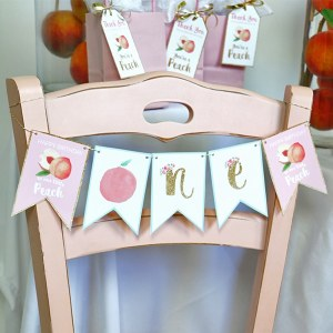 Peach High Chair Birthday Banner