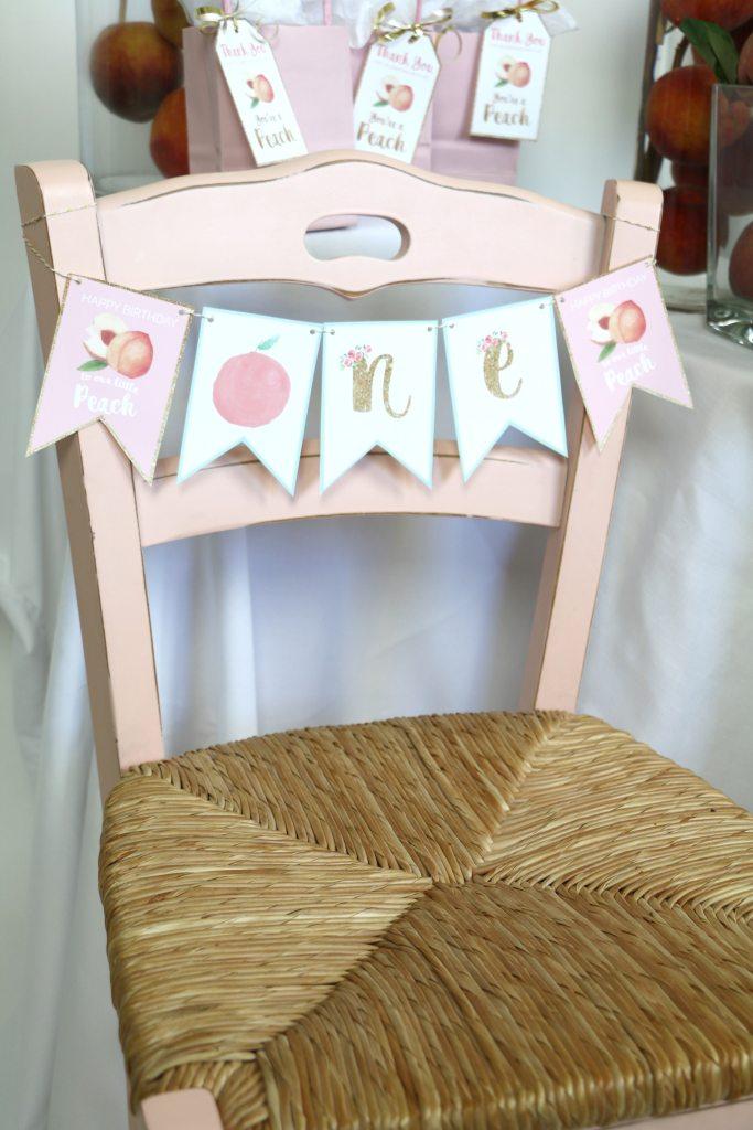 Peach Party First Birthday High Chair Banner