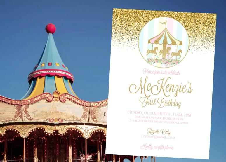 Carousel Birthday Party Invitation