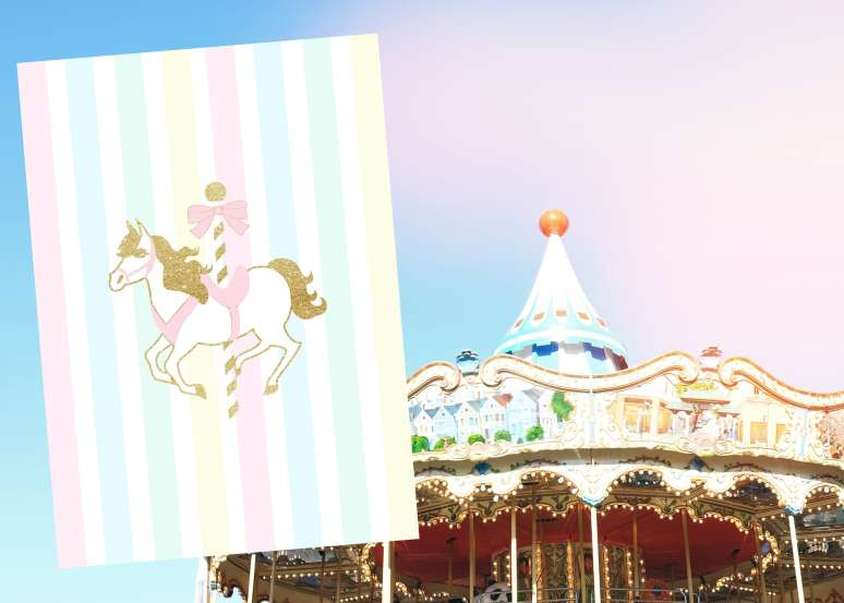 Carousel birthday back of invitation