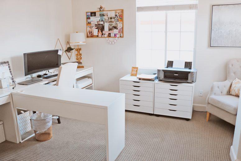 Ikea White Office Setup