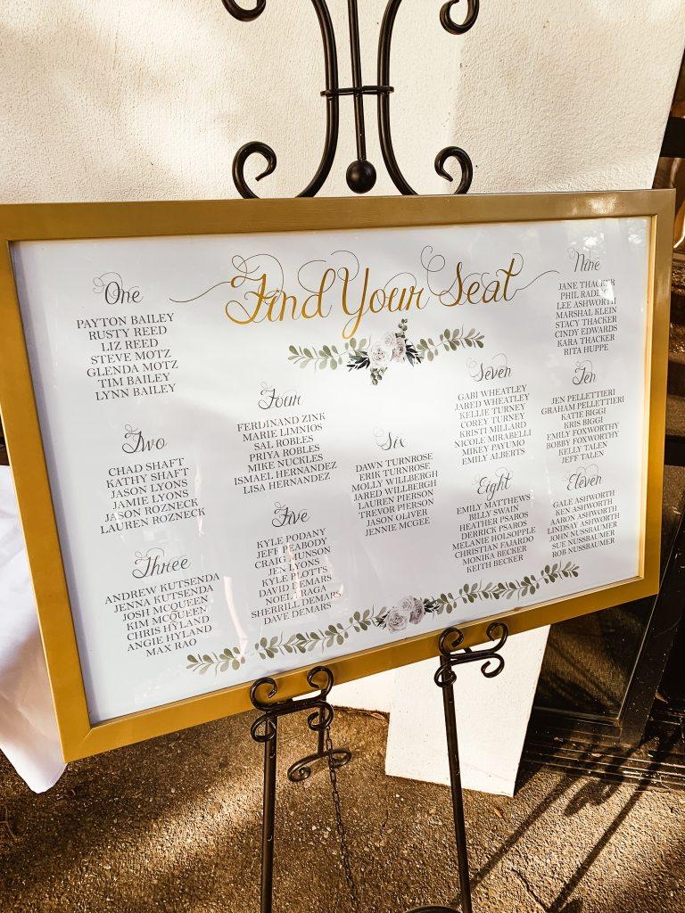 Custom Seating Chart for Wedding