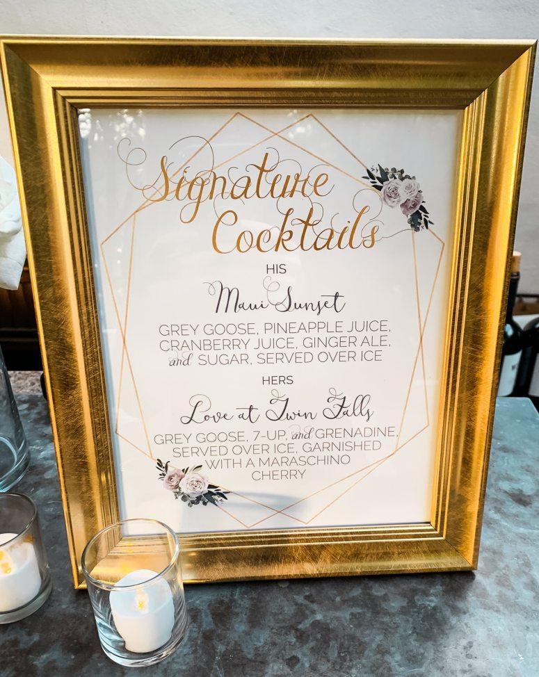 Custom Signature Cocktail Wedding Sign