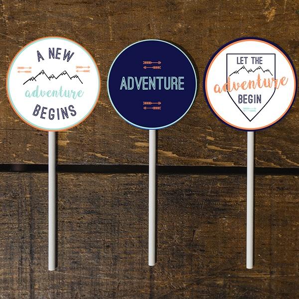 Feminine Adventure Baby Shower: Printable Cupcake Toppers