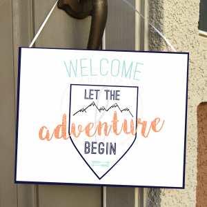 Feminine Adventure Baby Welcome Sign