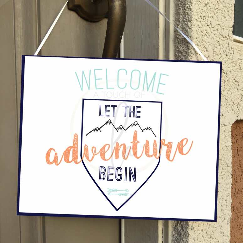 Feminine Adventure Baby Welcome Sign