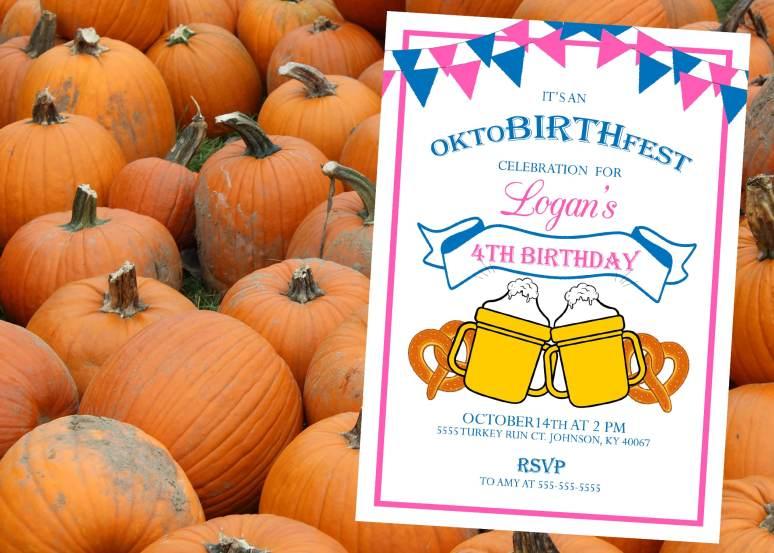 ONEtoberfest birthday party invitations
