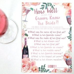 Rosé Bridal Shower: How Well Does the Groom Know the Bride Game
