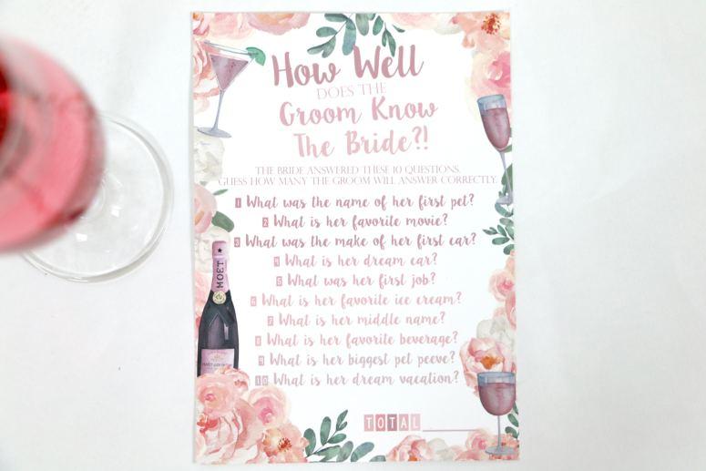 Rosé All Day Bridal Shower Game