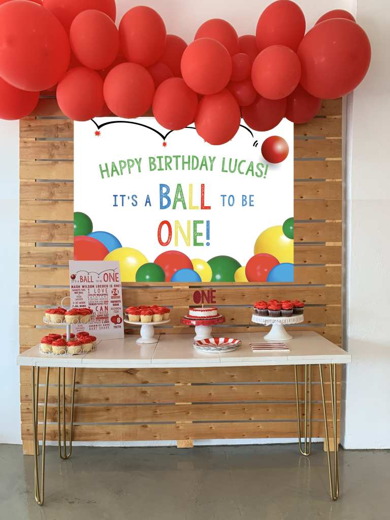 Ball Party Backdrop: Bouncy Ball Party Decorations