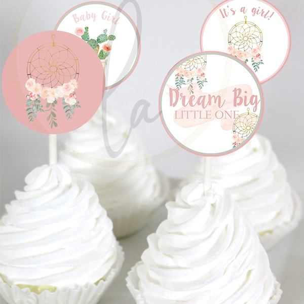Bohemian Baby Shower Cupcake Toppers