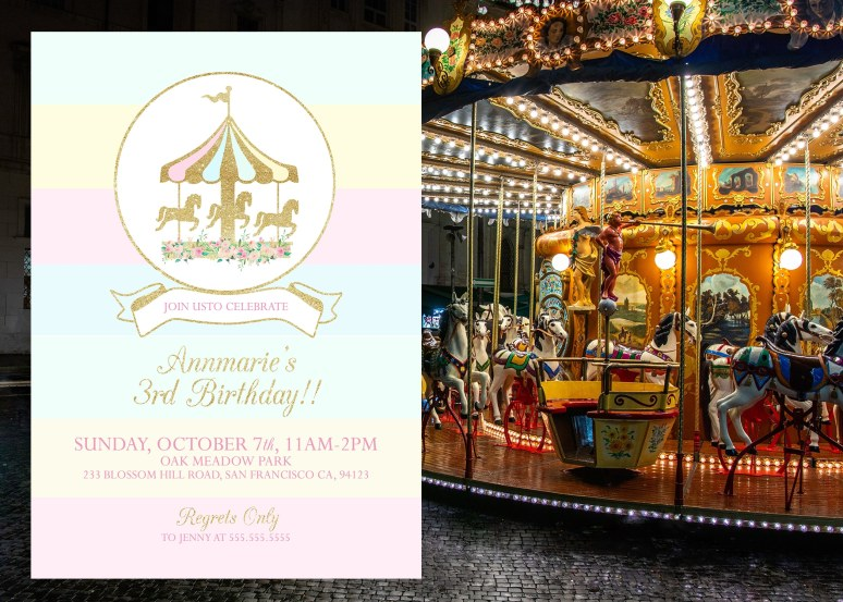 Carousel party invitation idea