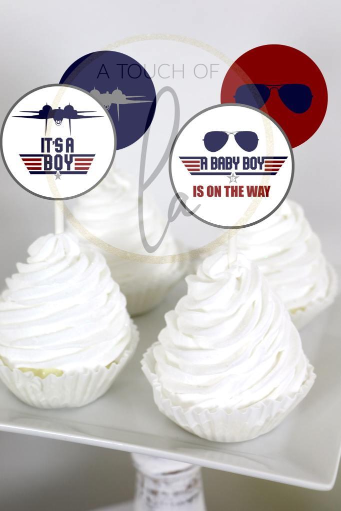 Top Gun Baby Shower Cupcake Toppers