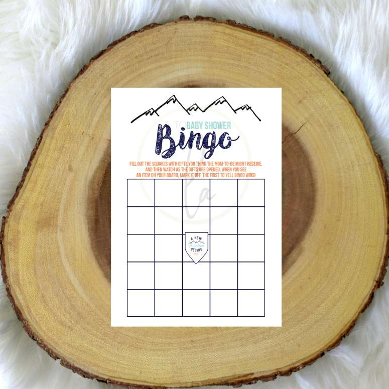 Adventure Baby Shower Bingo