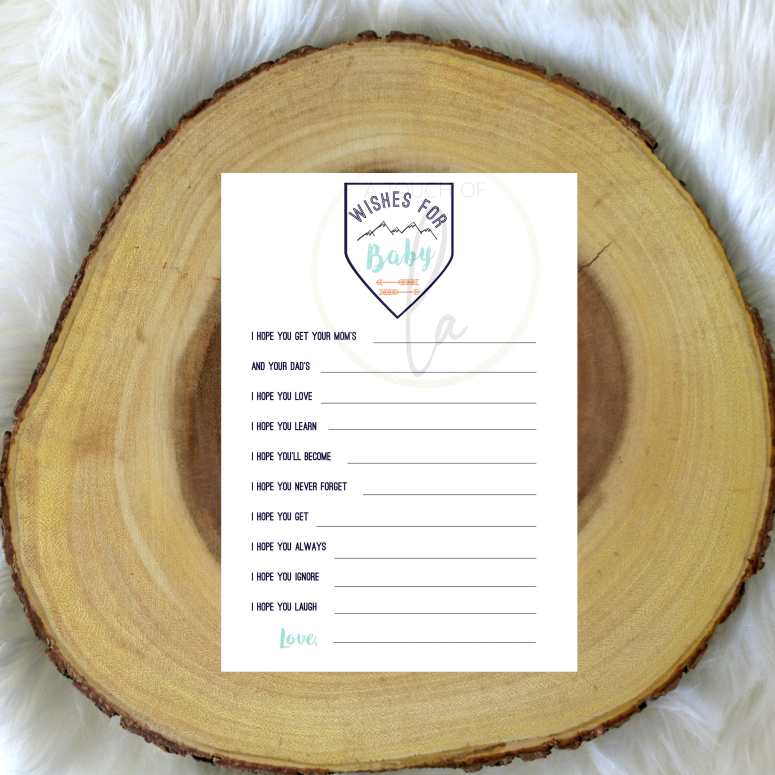 Adventure Themed Wishes For Baby Printable Shower Game