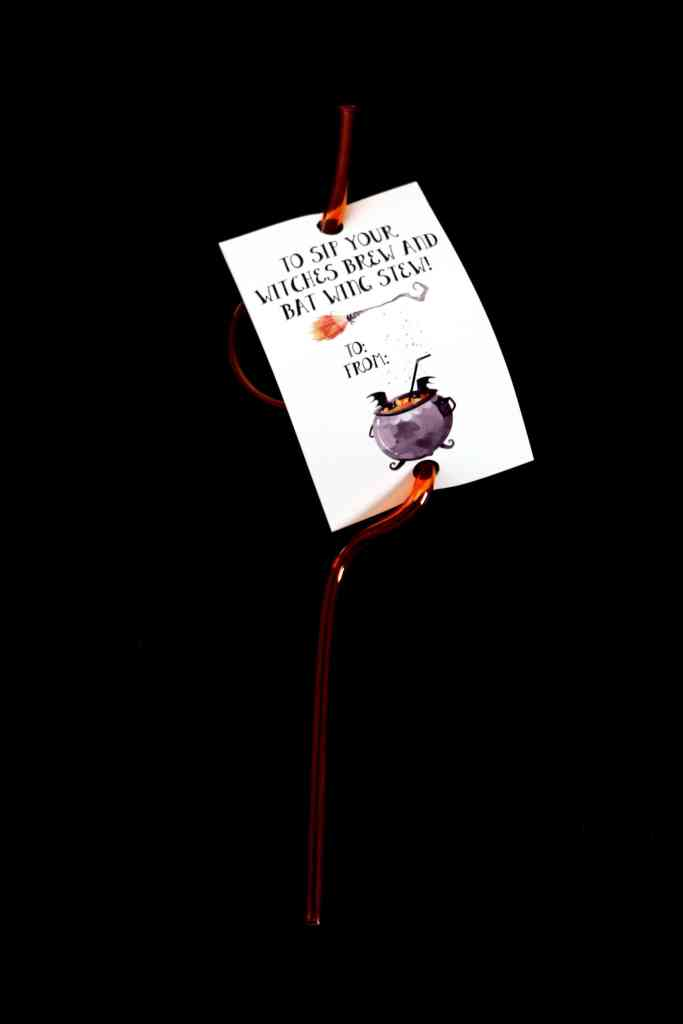 Witches Brew Halloween Crazy Straw Tags: Candy-Free Halloween Gifts
