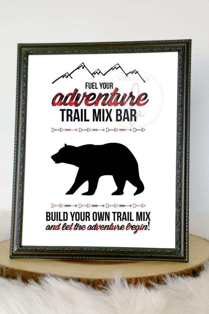 Buffalo Plaid Baby Shower Decor: Trail Mix Sign