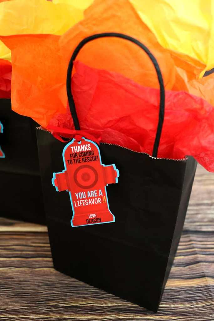 Printable Firefighter Party Favor Tags