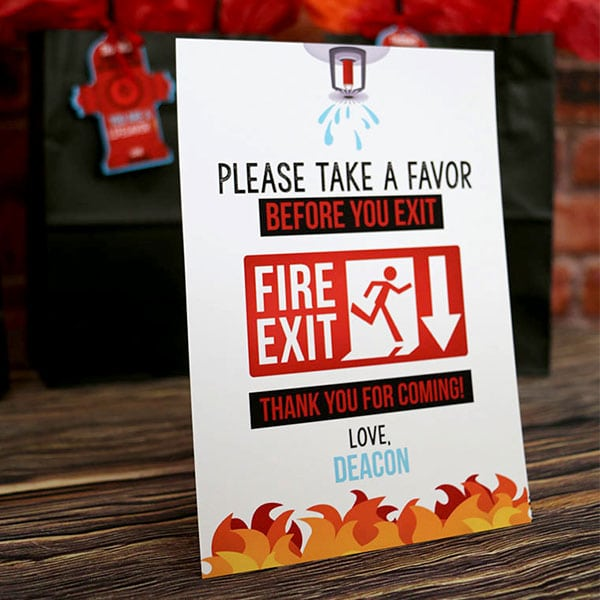 Firefighter Party Supplies: Firefighter Favor Table Sign