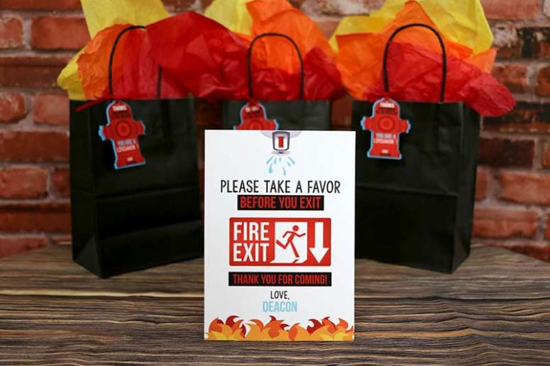 Printable Firefighter Party Favor Sign