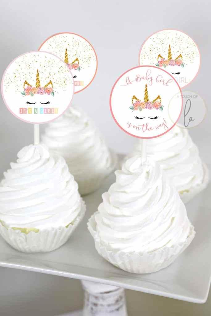 Unicorn Shower Printable Cupcake Toppers
