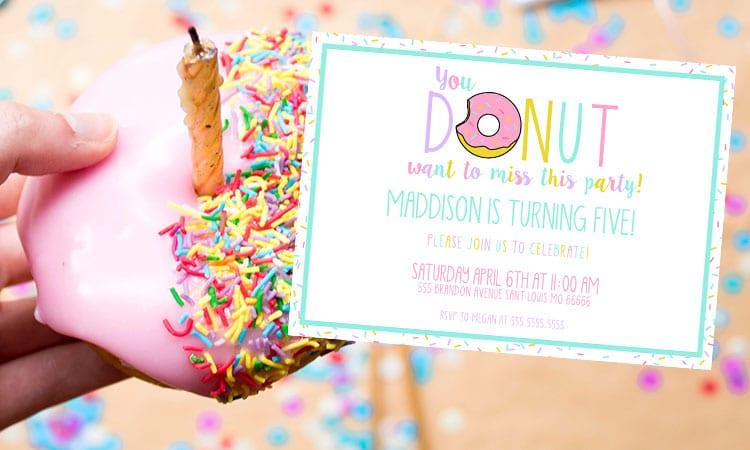 Girls Donut Party Invitation