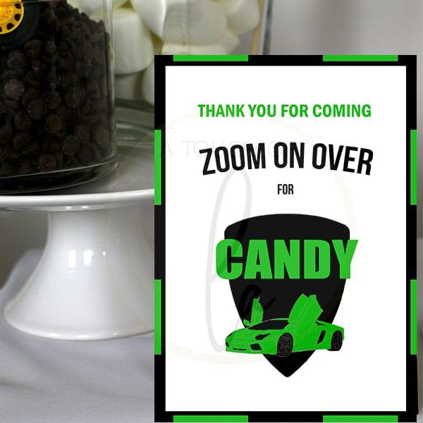 Green-Supercar Party-Candy-Bar-Sign