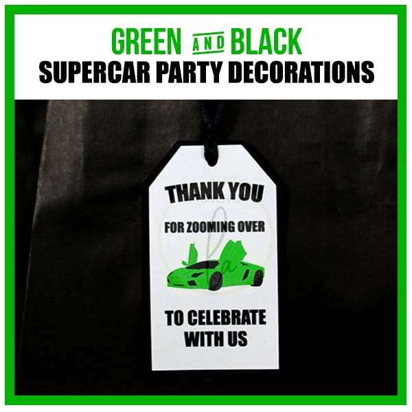 Green Supercar Party Decorations