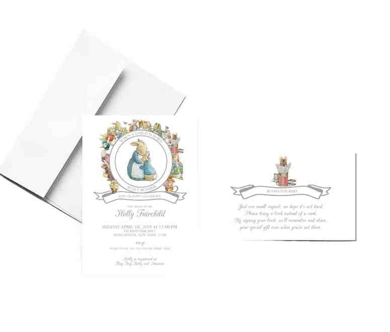 Peter Rabbit Gender Neutral Baby Shower Invitation and Book Card
