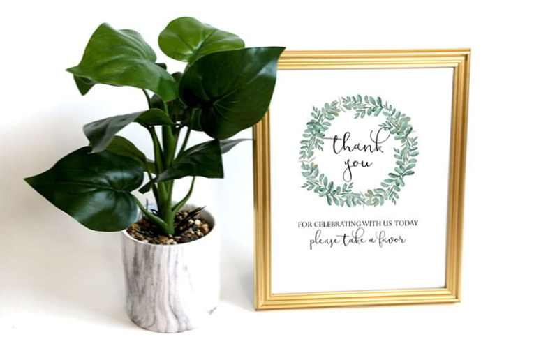 Greenery Baby Shower Favor Sign