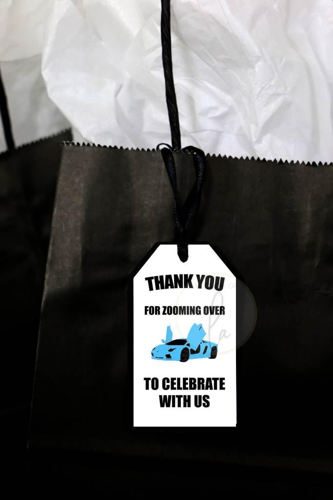 Blue Supercar Party Favor Tag