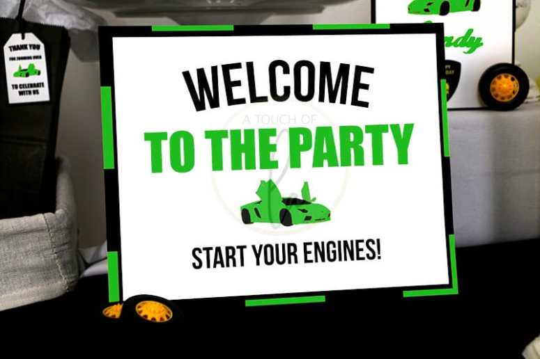Green-Supercar-Party-Welcome-Sign