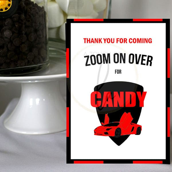 Red-Supercar-Party-Candy-Bar-Sign
