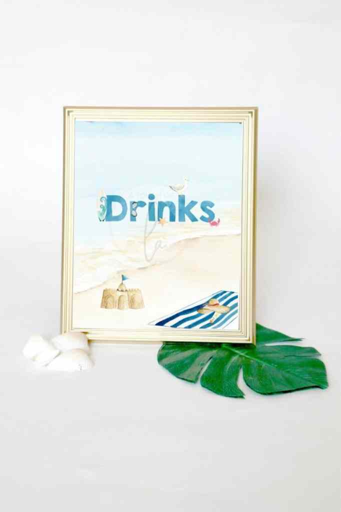 Beach Party Drinks Sign
