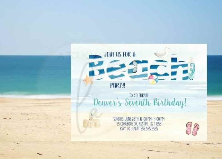 Beach Party with Stripes Invitation Photo