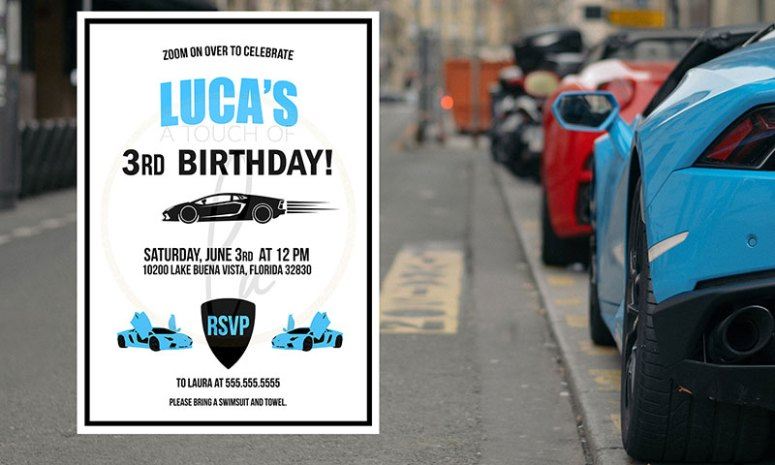 Blue Supercar Birthday Party Invitation