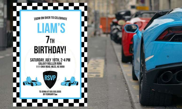 Blue Exotic Car Party Invitation