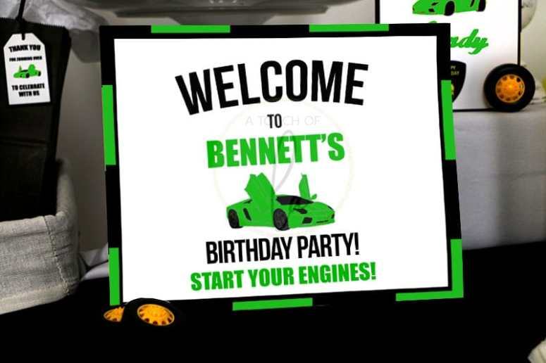 Editable Green Exotic Car Welcome Sign