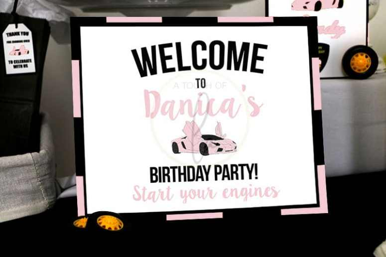 Pink Car Party Welcome Sign