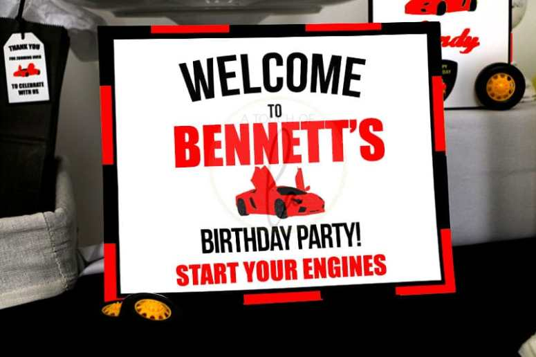 Red supercar party welcome sign