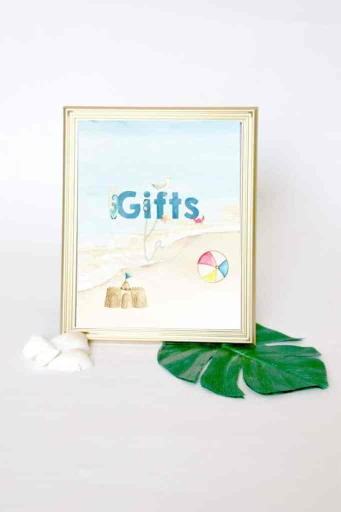 Beach Party Gifts sign