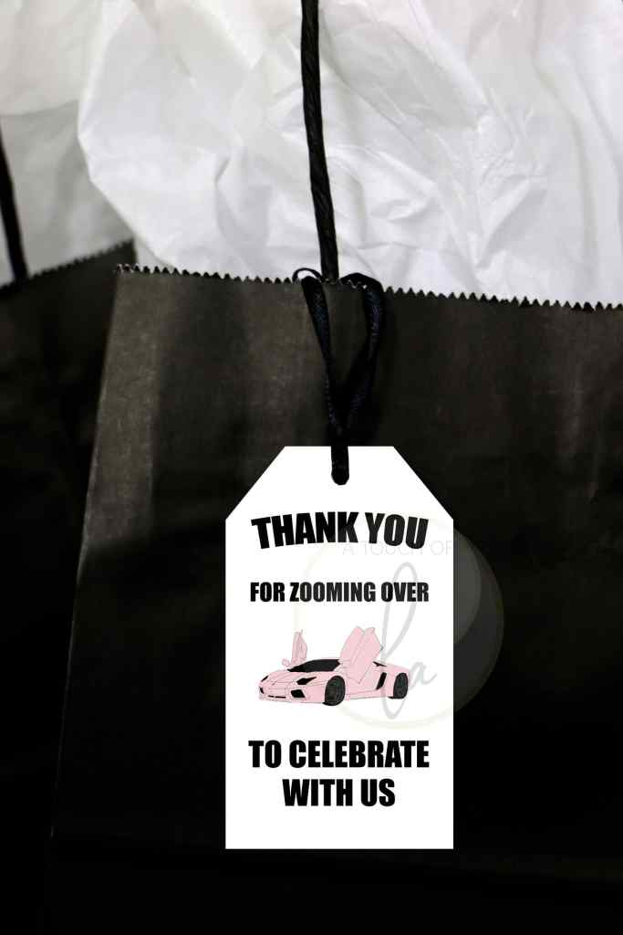 Pink Car Party Favor Tags