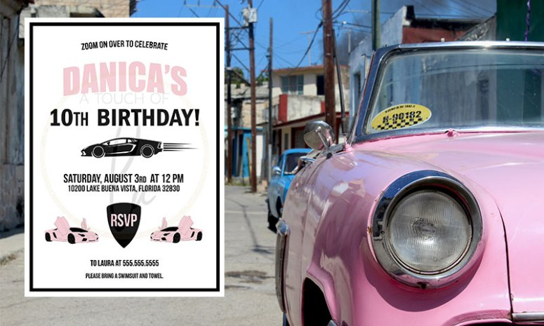 Pink Supercar Party Invitation