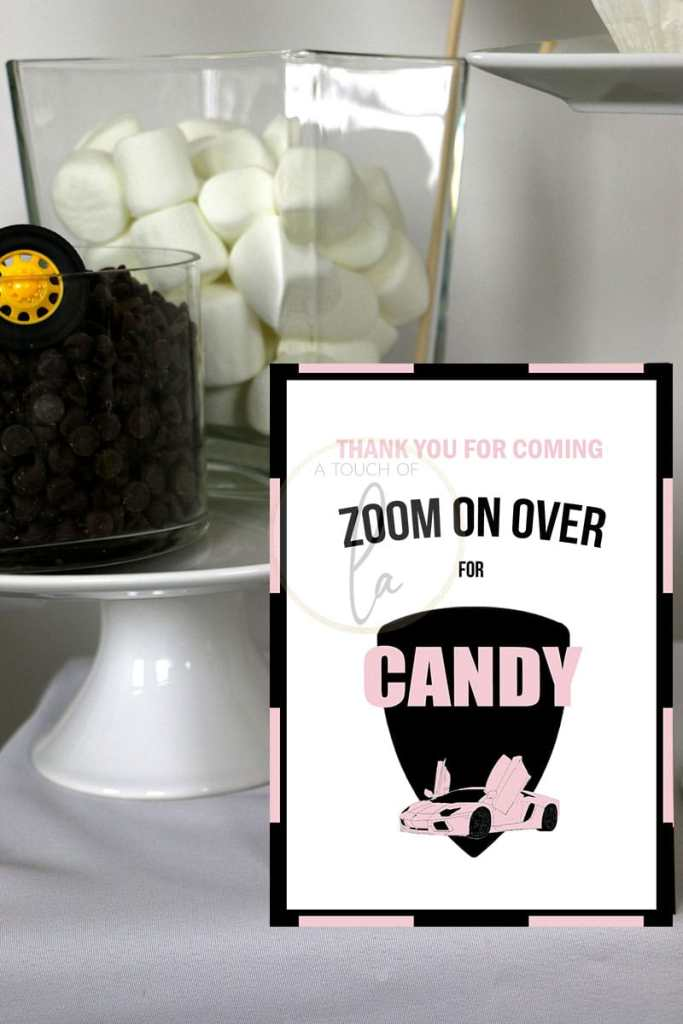 Pink Car Party Candy Bar Sign